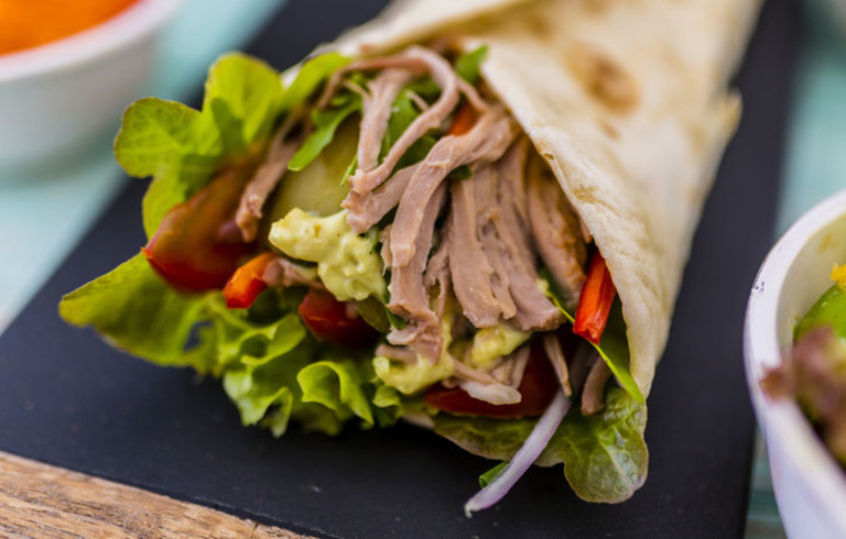 Pulled Pork Tortilla's met Amerikaanse Barbecuesaus